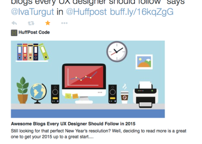 UXPA International retweeting one of my Huffington Post articles.